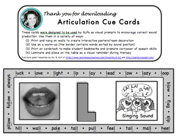 Articulation Cue Cards