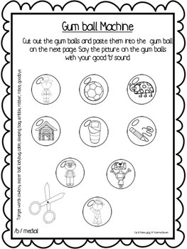 Articulation: Cut & Paste /b/ for speech and language therapy