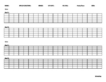 Articulation Data Tracking Sheet