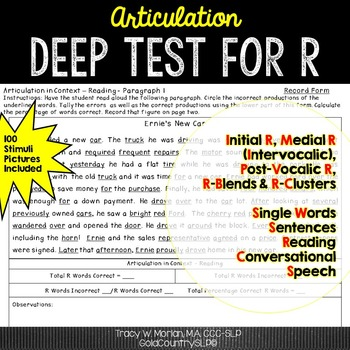 Articulation Deep Test for R with 100 Picture Stimuli 