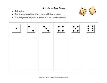 Articulation Dice Game