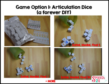 Articulation Dice: S, TH, SH, CH, J