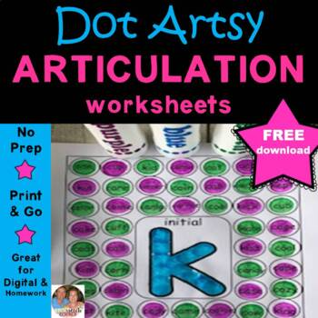 """Dot """"Artsy"""" Articulation Activities - Worksheets- Initial, Medial and Final K"""
