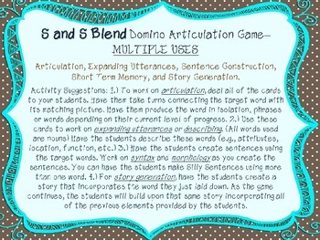 Articulation Dominoes Game - S and S Blends (MULTIPLE USES!)
