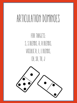 Articulation Dominoes: R, R Blends, Vocalic R, S, CH, SH, TH, J, L, L Blends