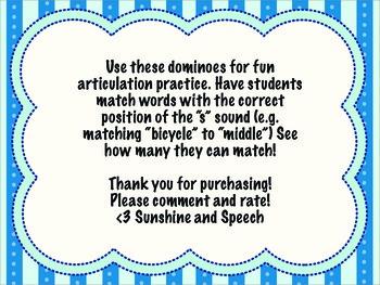 Speech Dominoes- /s/ sound