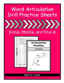 Articulation Drill Booklet- K Sound, Speech Therapy