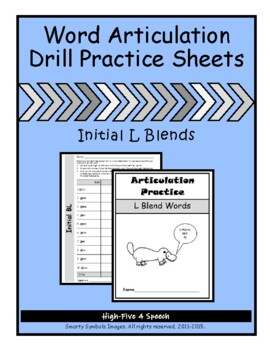 Articulation Drill Booklet- L BLEND WORDS, Speech Therapy