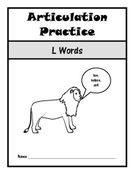 Articulation Drill Booklet- L Sound, Speech Therapy