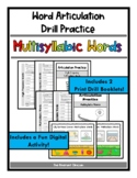 Articulation Drill Booklet- MULTISYLLABIC WORDS, Speech Therapy