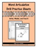 Articulation Drill Booklet- R Sound, Speech Therapy, Dista