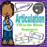 Articulation Fill in the Blank Sentences- S-Blends: Color and B&W