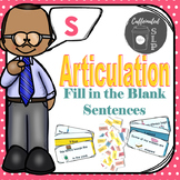 Articulation Fill in the Blank Sentences- S sound: Color and B&W