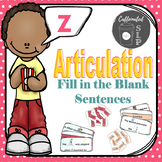 Articulation Fill in the Blank Sentences- Z sound: Color and B&W