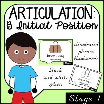 Articulation Flashcards for Initial b One Syllable Words, Phrases and Sentences