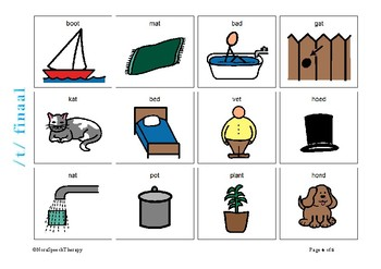 Articulation Flashcards for /T/ sound - Afrikaans