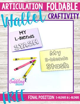 Articulation Foldable Wallet Books Craftivity for Final s-blends & l-blends