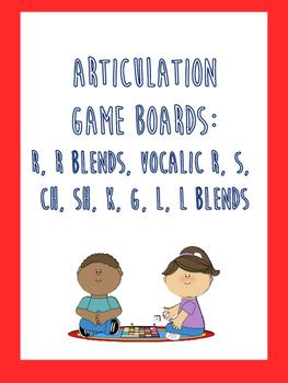 Articulation Game Boards: R, Vocalic R, CH, SH, K, G, L, L Blends