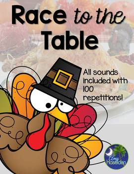 Thanksgiving 100 Articulation Repetitions Game Race to the Table All Sounds
