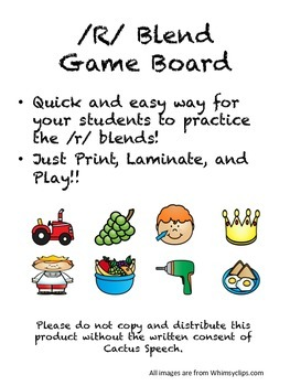 Articulation Game board for /R/ Blends