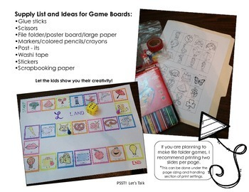Articulation Gameboard Project for S, S-Blends, Z, SH, and CH