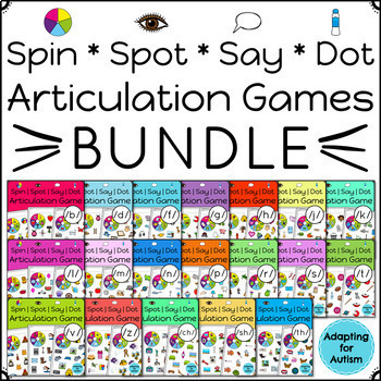 Articulation Games for Speech Therapy: Spinner Games BUNDLE of 19 sounds