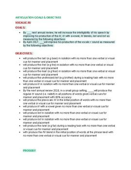 Articulation Goals &  Objectives