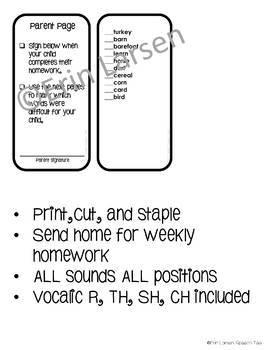 Articulation Homework Mini-books for ALL SOUNDS