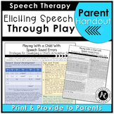 Articulation Handout for Parents and Teachers: Speech Therapy