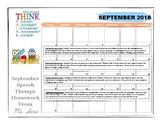 Articulation Homework Calendar September