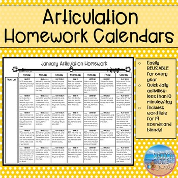 Articulation Homework Calendars By Speech In The Sand  Tpt