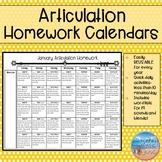 Articulation Homework Calendars