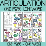 Articulation Homework Color Sheets   Speech Therapy Homework