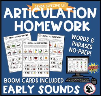 Articulation Homework Early Sounds Bundle! p,b,m,n,ng, y, w h,t,d k,g,f,& v