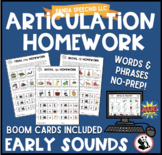 Articulation Homework Early Sounds: Words & Phrases