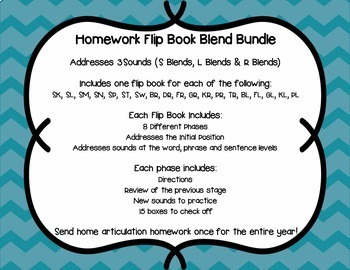 Articulation Homework Flip Books Set 4 (R, L, S Blends)
