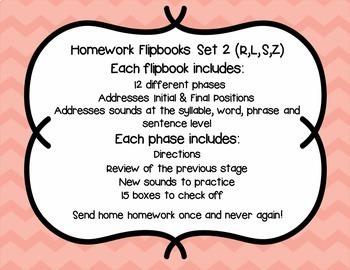 Articulation Homework Flip Books Set 2 (R, L, S, Z)