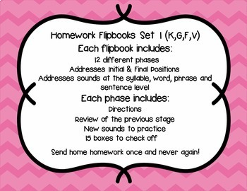 Articulation Homework Flipbooks Set 1 (K, G, F, V)