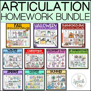 Articulation Homework GROWING Bundle: Holidays/Seasons | Speech Therapy Homework