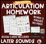 Articulation Homework Later Sounds: Words & Phrases