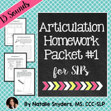 Articulation - Homework Packet for Speech-Language Therapy (Artic)