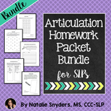 No Prep Articulation Homework 1, 2, & 3 BUNDLE
