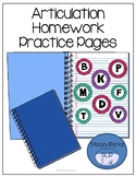 Articulation Homework Practice Pages - Early Developing Sounds