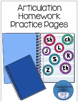 Articulation Homework Practice Pages - Later Developing Sounds