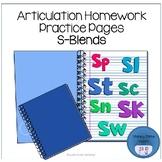 Articulation Homework Practice Pages S-Blends