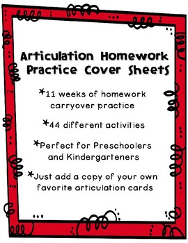 Articulation Homework Practice Sheets by Slinde Speech | TpT