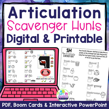 Articulation Homework Worksheets - Print & Go Scavenger Hunt Speech Activities