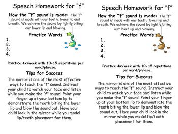 Articulation Homework /f/