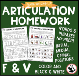 Articulation Homework for /f/ & /v/: Word and Phrase Levels
