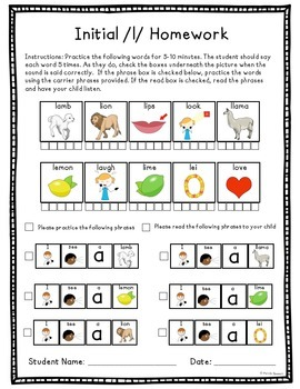 Articulation Homework for /l/ and /lblends/ Word and Phrase Levels